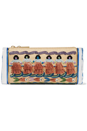 Soft Lara Luau embroidered raffia and acrylic box clutch
