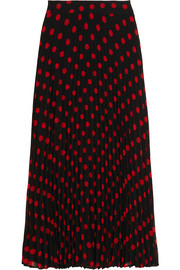 Polka-dot pleated crepe skirt