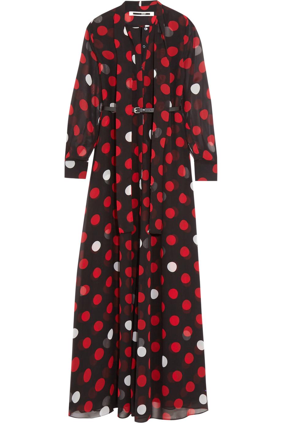Pussy-Bow Polka-Dot Chiffon Maxi Dress, Mcq Alexander Mcqueen, Black/Red, Women's - Polka dots, Size: 36