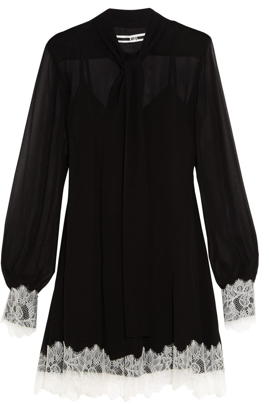 Pussy-Bow Lace-Trimmed Silk-Chiffon Mini Dress, Mcq Alexander Mcqueen, Black, Women's, Size: 36