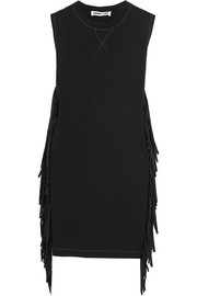 Faux suede-fringed cotton-jersey mini dress