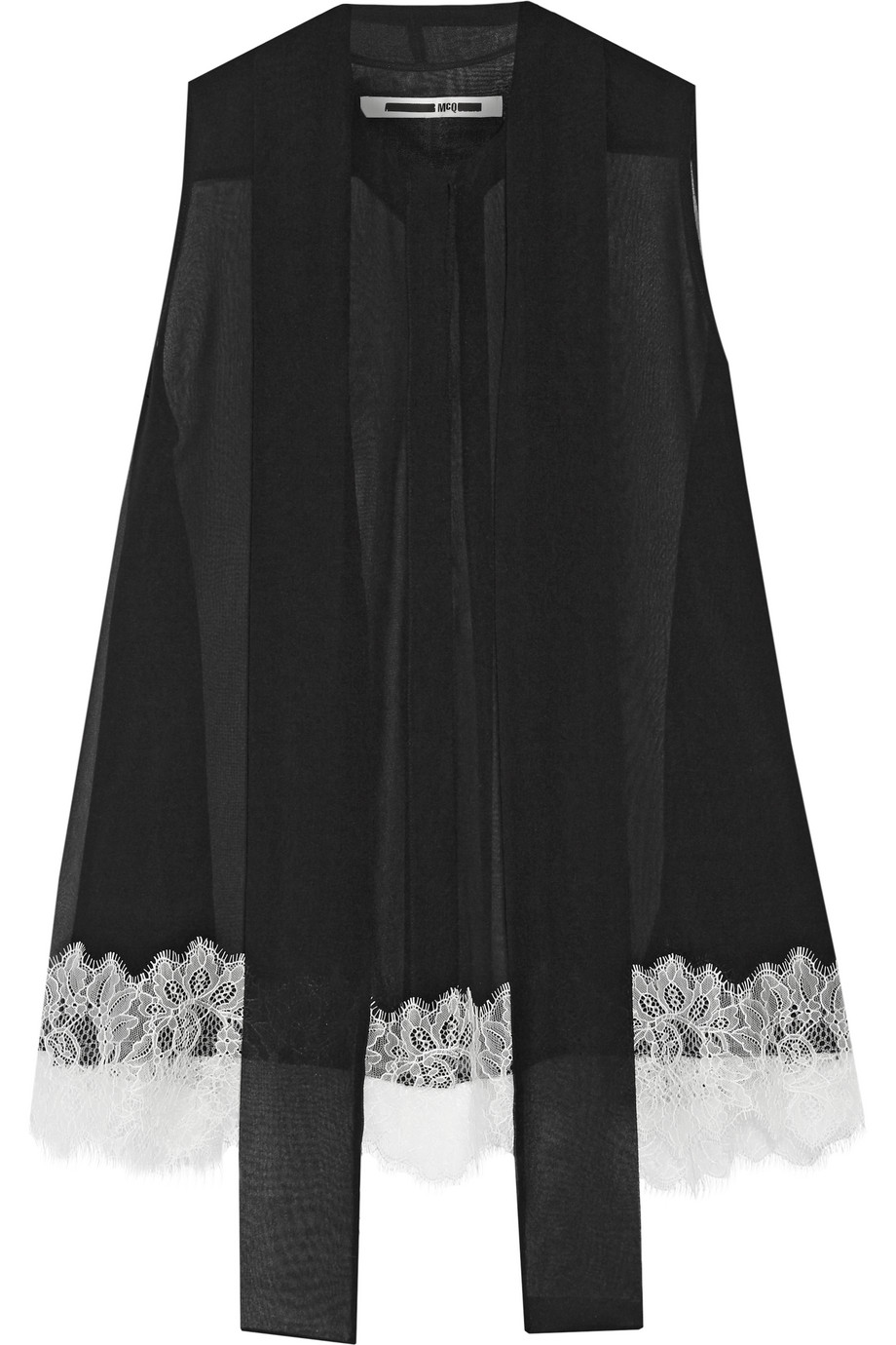 Pussy-Bow Lace-Trimmed Silk-Chiffon Blouse, Mcq Alexander Mcqueen, Black, Women's, Size: 44