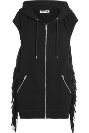 Hooded faux suede-fringed cotton-jersey gilet