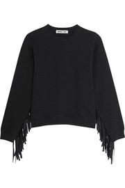 Faux suede-fringed cotton-jersey sweatshirt