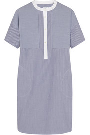Vince Striped cotton-poplin dress