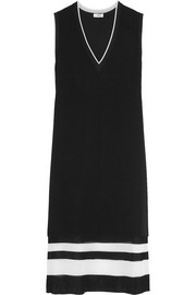 Vince Ribbed knit-trimmed crepe dress