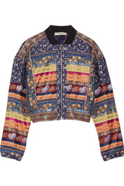 Reversible paneled embroidered cotton and silk-blend bomber jacket