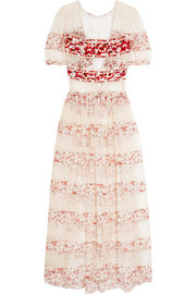 Embroidered crepe and printed silk-paneled lace gown