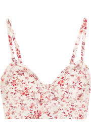 Cutout floral-print cotton bra top