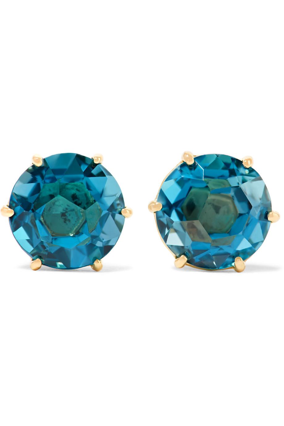 Ippolita Rock Candy 18-Karat Gold Topaz Earrings, Gold/Blue, Women's