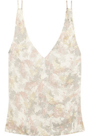 Printed hammered silk-satin top