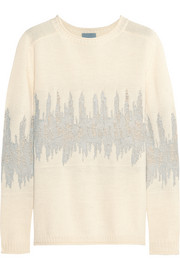 Jacquard-knit wool-blend sweater