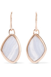 Monica Vinader Siren Teardrop rose gold-plated agate earrings