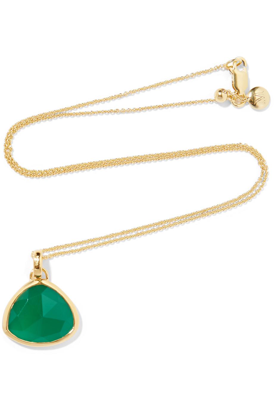 Monica Vinader Siren Gold-Plated Onyx Necklace, Gold/Green, Women's