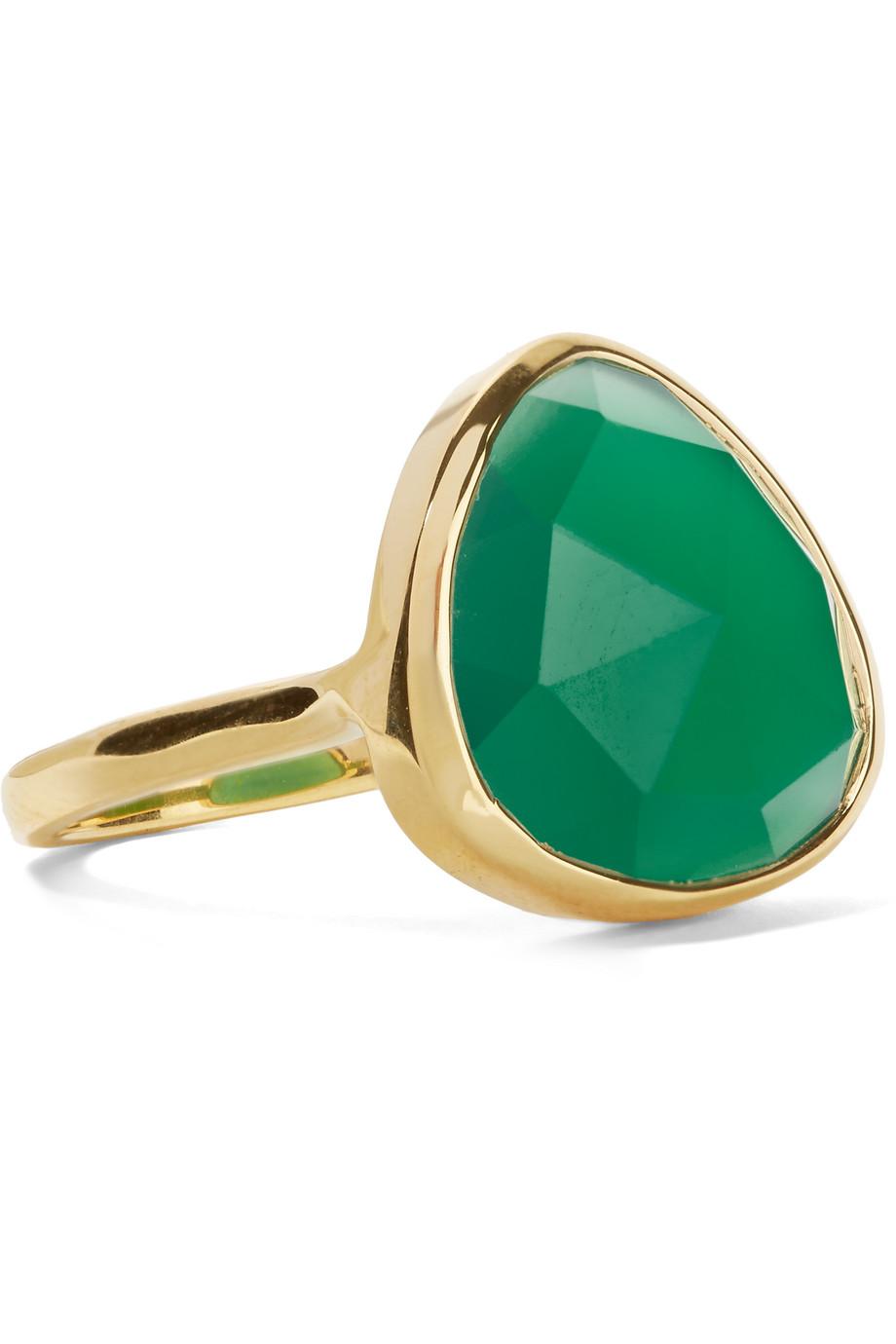 Monica Vinader Siren Gold-Plated Onyx Ring, Gold/Green, Women's