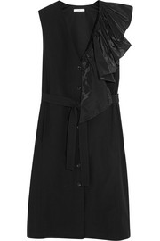 Ruffled taffeta-trimmed cotton dress