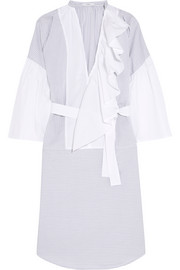 Belted ruffled cotton-poplin dress