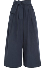 Belted cotton-poplin wide-leg pants