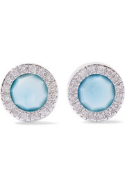 Monica Vinader Nadia sterling silver, diamond and larimar earrings