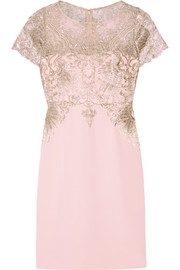 Metallic embroidered tulle and stretch-silk dress