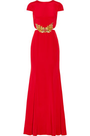 Embellished stretch-silk gown