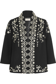 Lettie embroidered crepe jacket