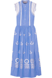 Gilda embroidered chambray maxi dress