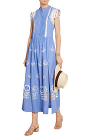 Temperley London Gilda embroidered chambray maxi dress