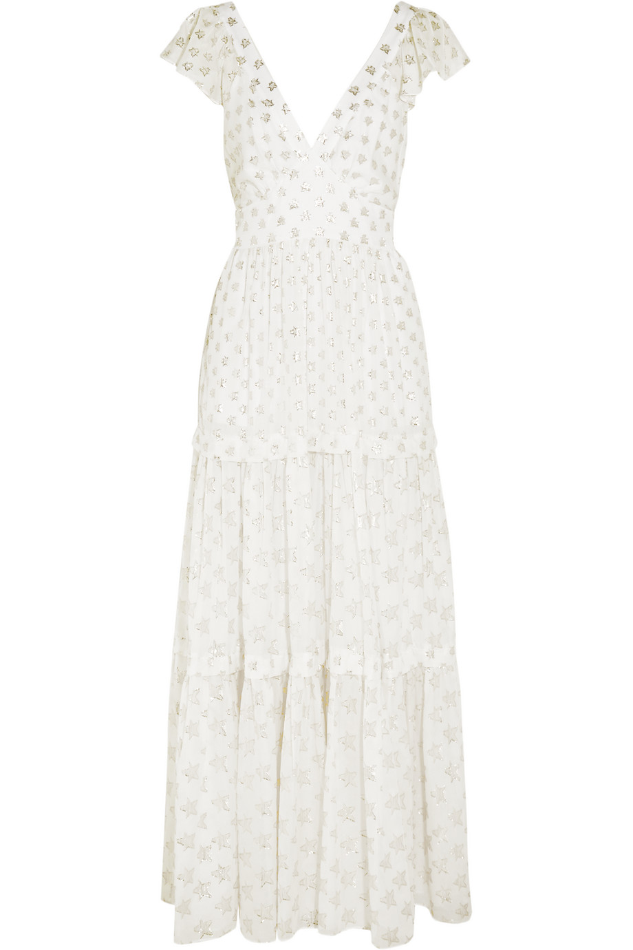 Peggy Metallic Fil Coupé Gown, Temperley London, White, Women's - Metallic, Size: 10