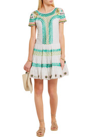 Temperley London Arabelle embroidered cotton and silk-blend mini dress