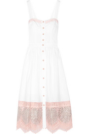 Strappy Clara embroidered cotton-poplin dress