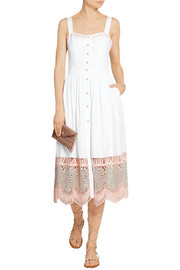 Temperley London Strappy Clara embroidered cotton-poplin dress