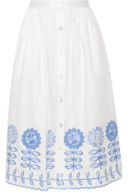 Gilda embroidered cotton-poplin skirt
