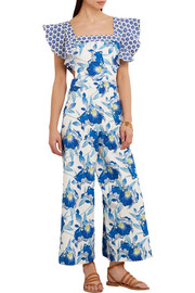 Temperley London Marybell ruffled printed stretch-cotton jumpsuit