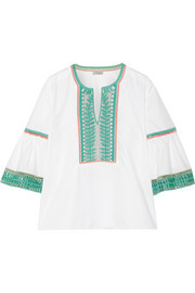 Clara embroidered cotton-poplin blouse