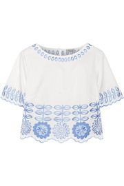 Gilda embroidered cotton-poplin top