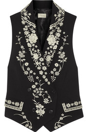 Lettie Tuva embroidered crepe vest