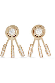 Trilogy 14-karat gold diamond earrings