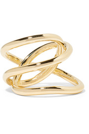 Small Abstract Line gold-plated ring