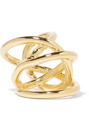 Large Abstract Line gold-plated ring