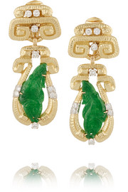Scroll 18-karat gold, jade and diamond clip earrings