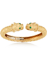 Greek Lion 18-karat gold emerald bracelet