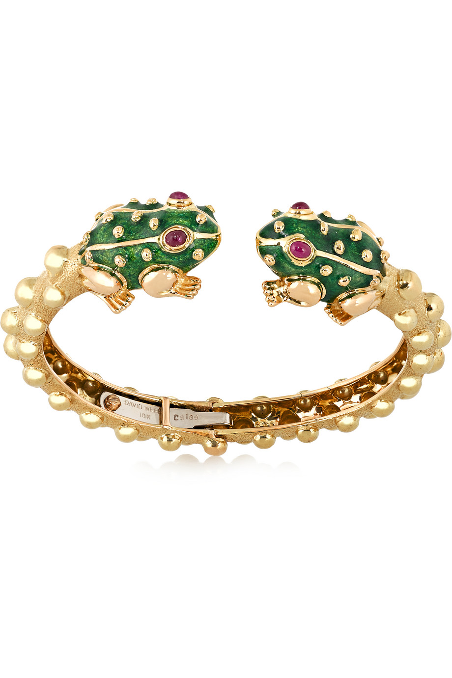 David Webb Baby Frog 18-Karat Gold, Ruby and Enamel Bracelet, Gold/Green, Women's