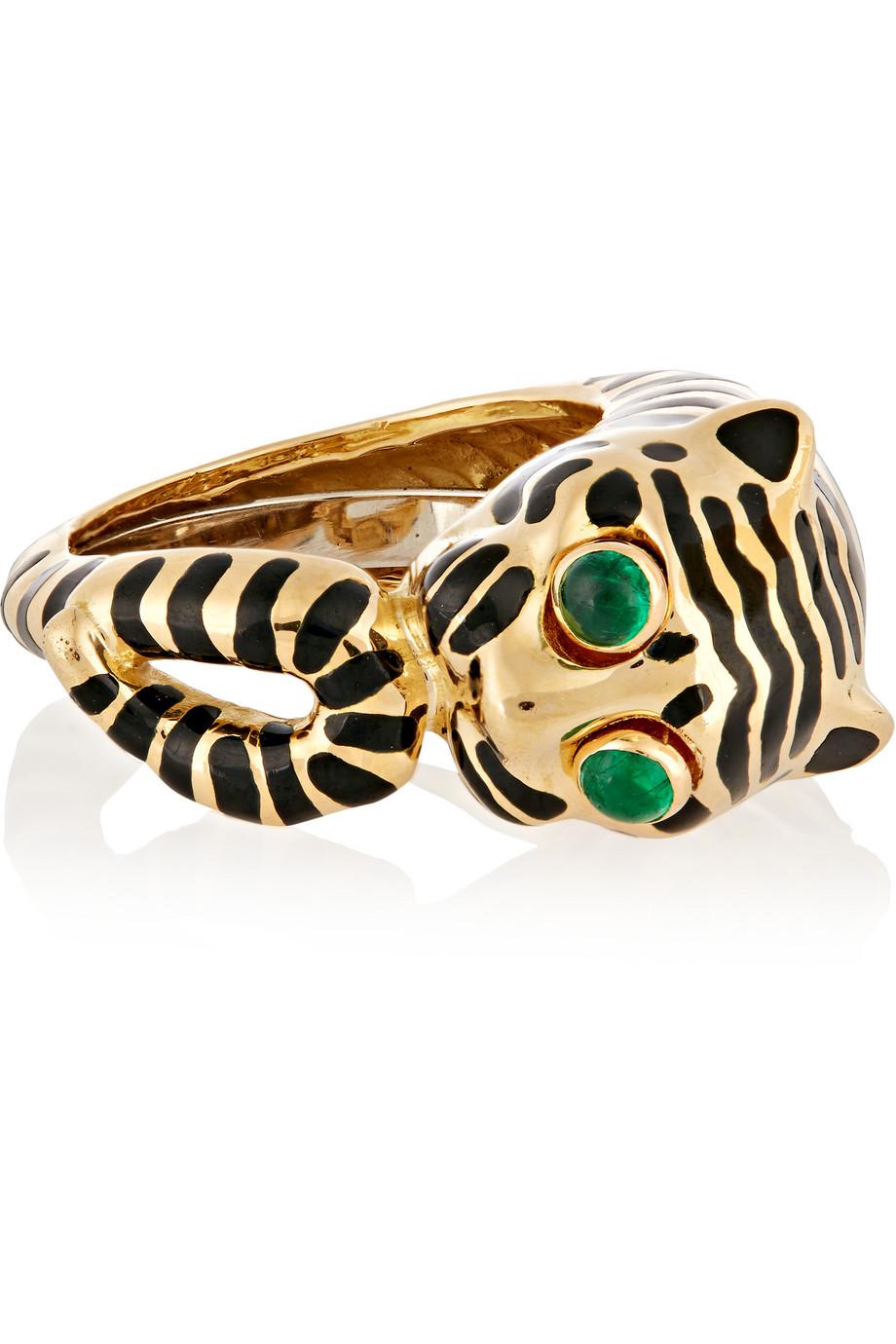 David Webb Tiger 18-Karat Gold, Emerald and Enamel Ring, Gold/Green, Women's, Size: 6 1/2