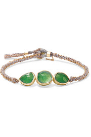 Brooke Gregson Triple Orbit 18-karat gold, emerald and silk bracelet