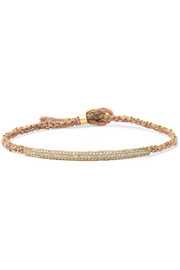14-karat gold, diamond and silk bracelet