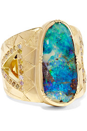 Brooke Gregson Hera 18-karat gold, boulder opal and diamond ring
