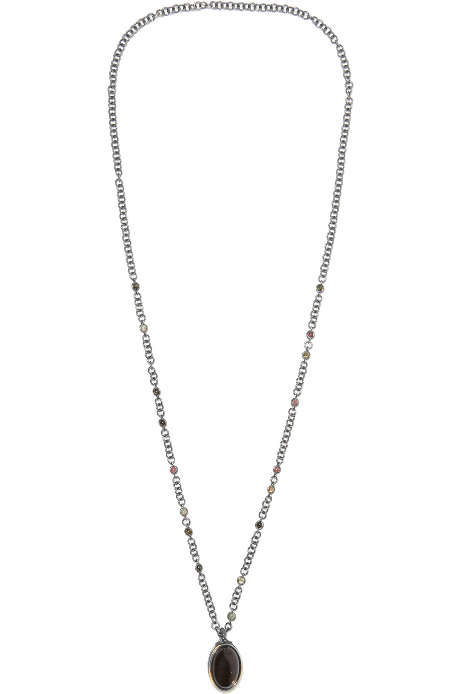 Bottega Veneta Oxidized Sterling Silver Tourmaline Necklace, Silver/Dark Brown, Women's