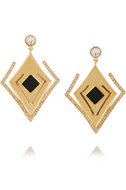 Lights & Reflections gold-plated, Swarovski crystal and onyx earrings