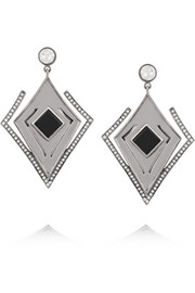 Lights & Reflections rhodium-plated, Swarovski crystal and onyx earrings